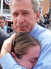 bush hugging young girl after 9 11 thankw Wednesday is 'W' appreciation day