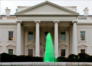 green white house fountains thankwcom 300x216 Obama in the St. Pattys day spirit